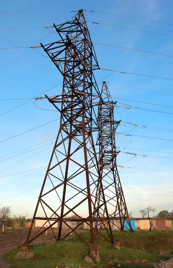 Download High voltage post stock photo. Image of grid, blue, generation - 25176328