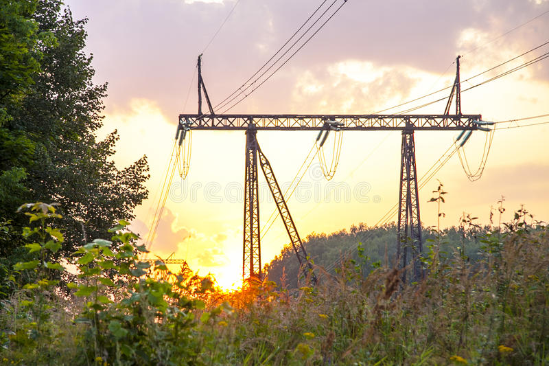 A high-voltage power line. royalty free stock photos