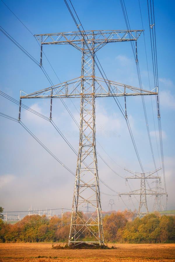 High voltage power line mast. stock photo