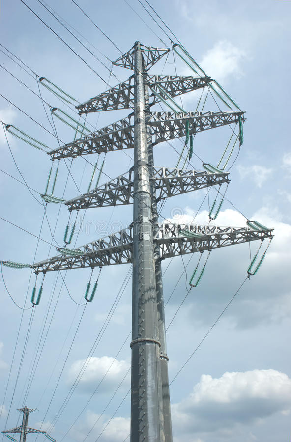 Download High-voltage Power Line Metal Prop Over Sky With C Stock Image - Image: 26199789