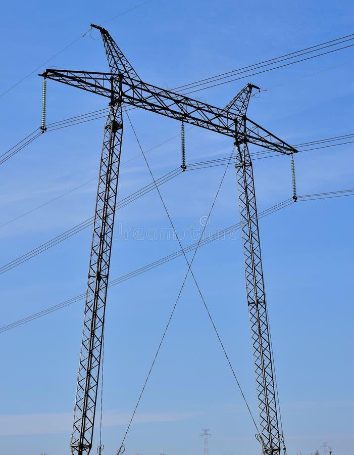 Power Line On Blue Sky Background Stock Photo - Image of pole, blue ...