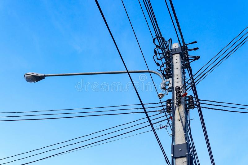 High voltage power line pole. royalty free stock image