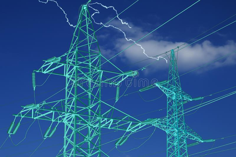 High voltage power line stations and lightnings on blue sky stock photo