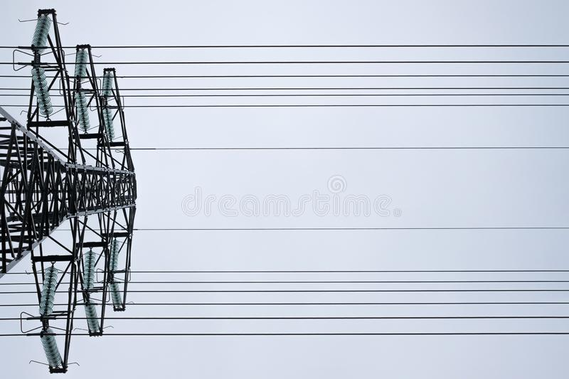 High voltage power line. View from the bottom up. stock photo