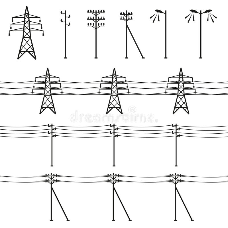 High voltage power lines vector illustration