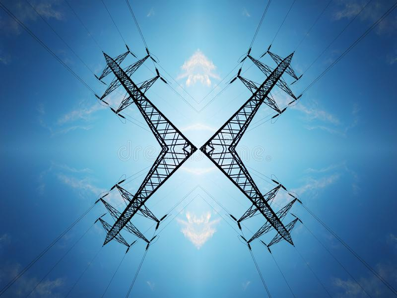 High-voltage power lines against the blue sky with clouds stock images