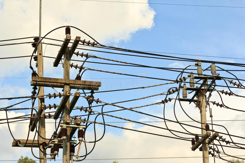 Download High voltage power lines. stock photo. Image of business - 34380696