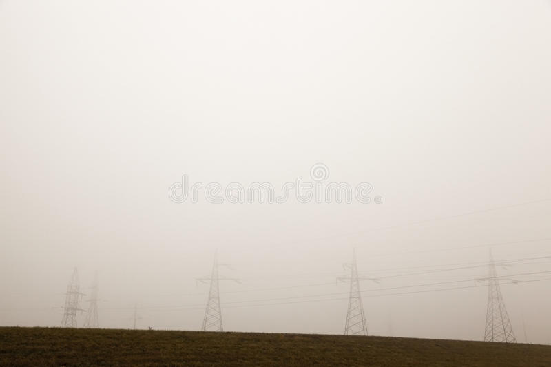 High-voltage power poles stock photos