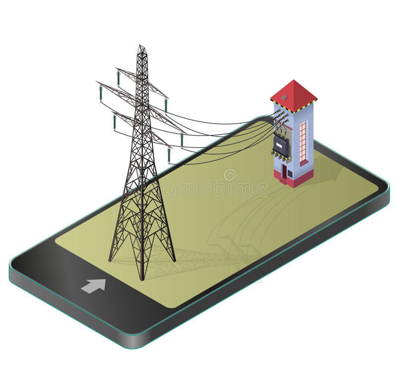 High-voltage power station with electricity pylon in communication technology paraphrase. stock illustration