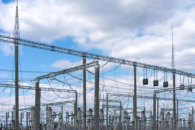 High voltage power substation royalty free stock photography