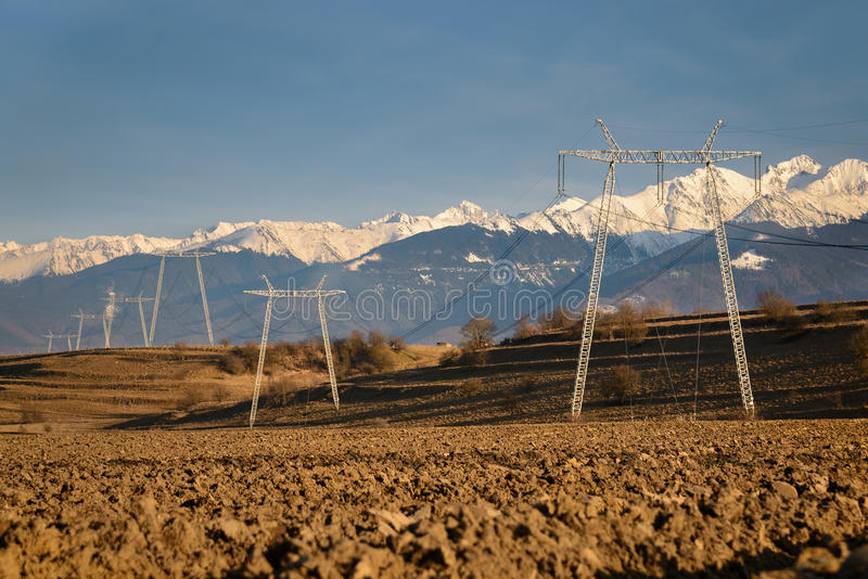High Voltage Power Towers and Wires royalty free stock photography