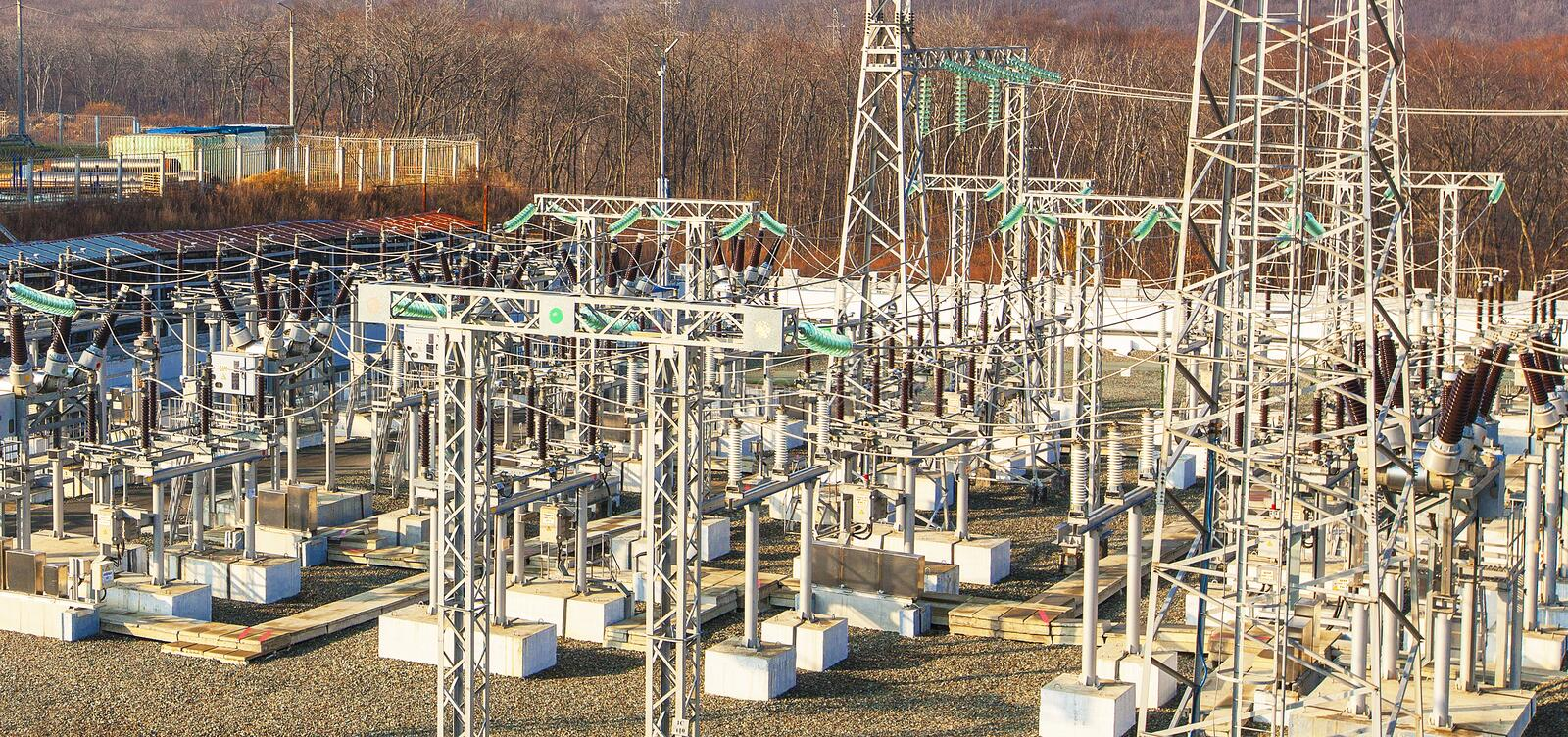 High voltage power transformer substation. stock photography