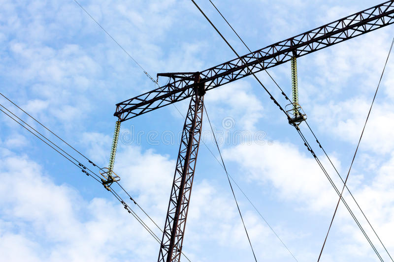 High-voltage power transmission line. Part of high-voltage power transmission line supports five hundred thousand volts 500 close-up. Unified Energy System of royalty free stock image