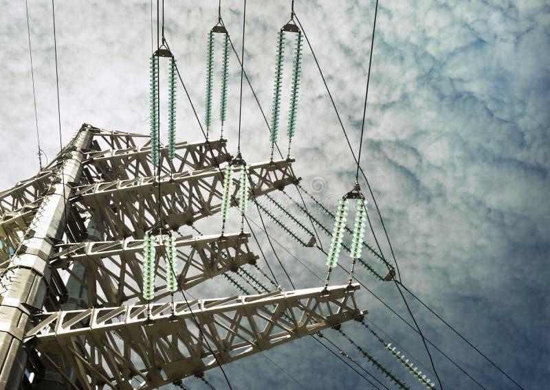 High-voltage. High voltage pylon, close up royalty free stock photo