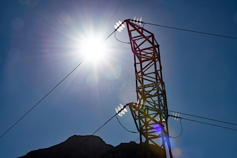 High Voltage pylons stock image
