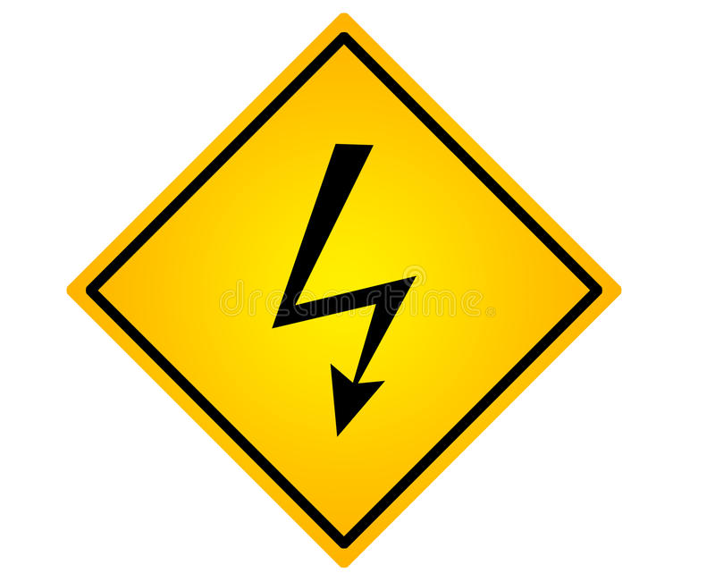 High voltage road sign. Advice alertness at attention choice cloud cloudscape concepts royalty free illustration