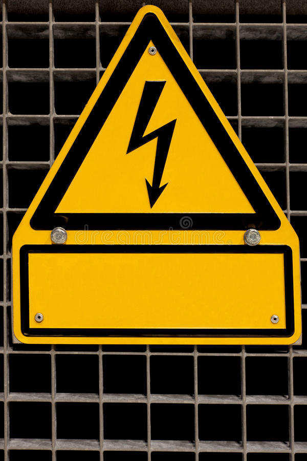 Download High Voltage Sign With Copyspace Stock Photo - Image: 18438398