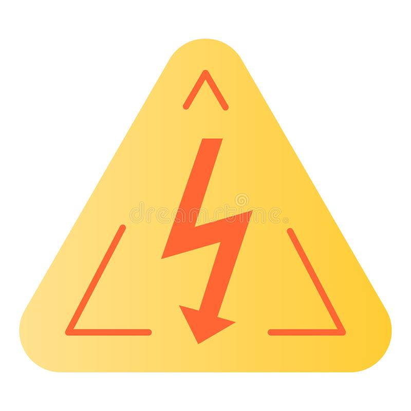 High voltage sign flat icon. Danger electricity color icons in trendy flat style. Triangle hazard symbol with lightning stock illustration