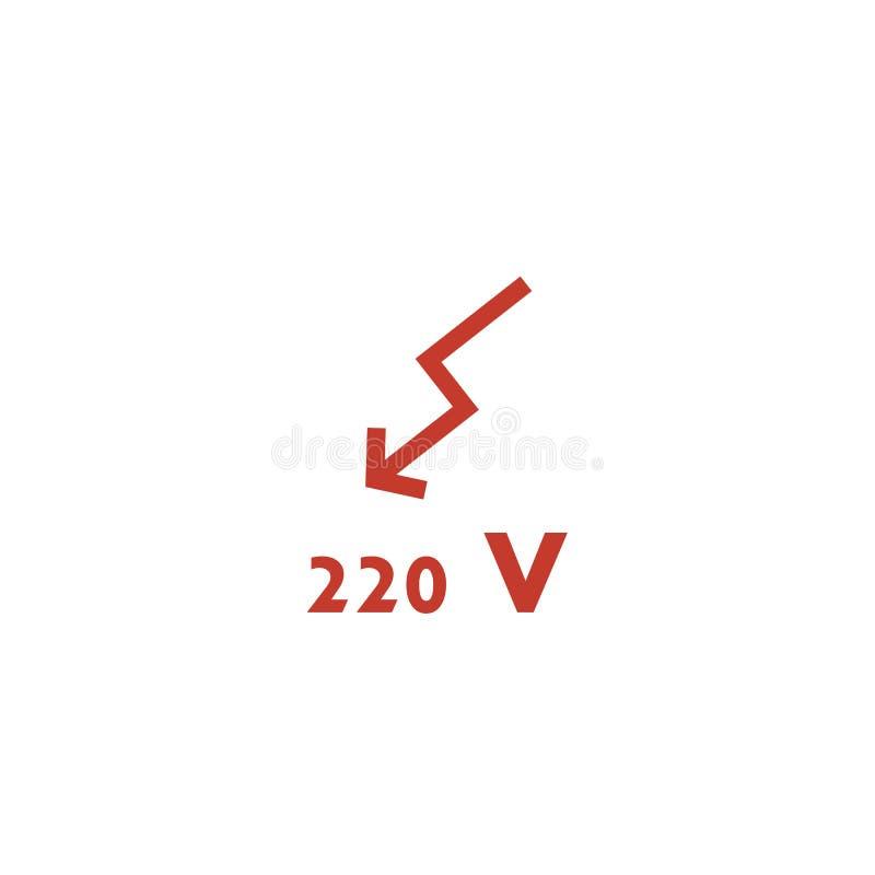 High Voltage Sign. 220 volt. Danger symbol. Flat vector symbol. 220 V royalty free illustration