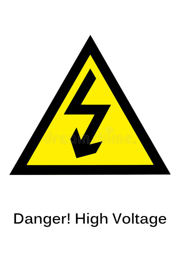 High voltage sign on the white background. royalty free stock photography