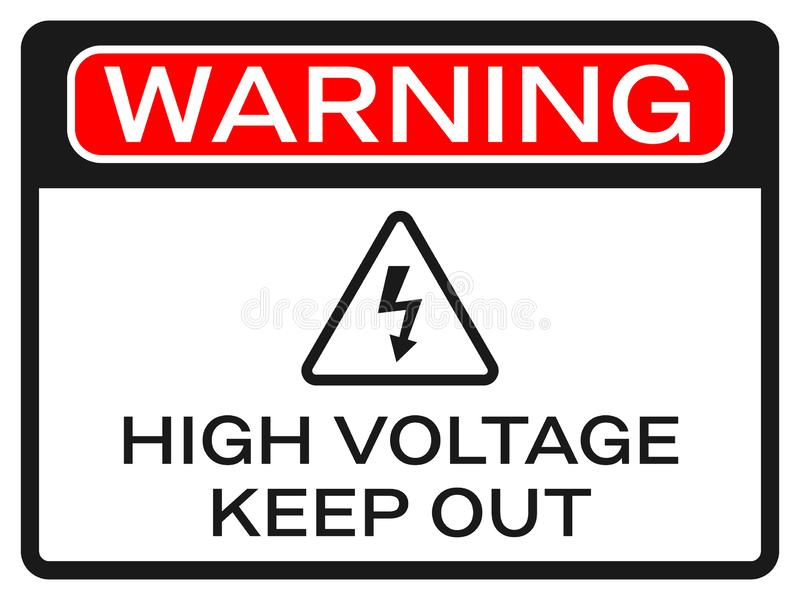 High Voltage sign on white background. Red warning text and black arrow. Keep out sticker and triangle icon. Safety stock photography