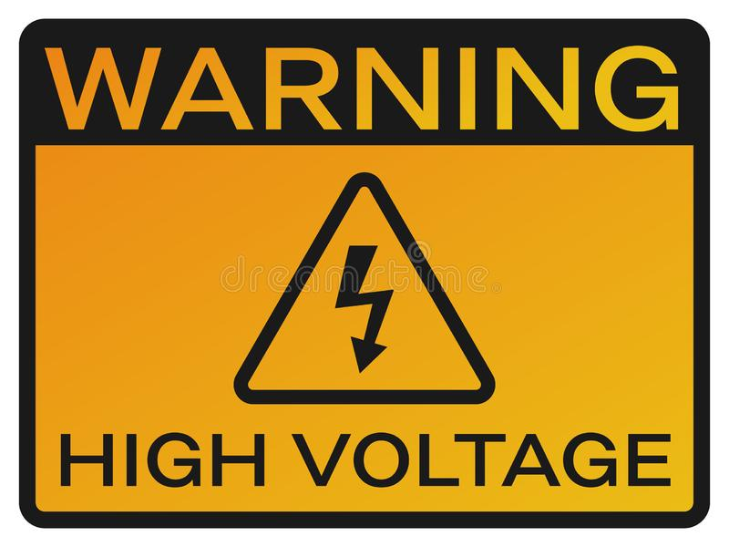 High Voltage sign. Yellow symbol with warning text. Danger pictogram with black border. Yellow triangle and black arrow stock photos