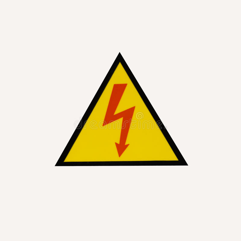 High voltage signs on white background royalty free stock image