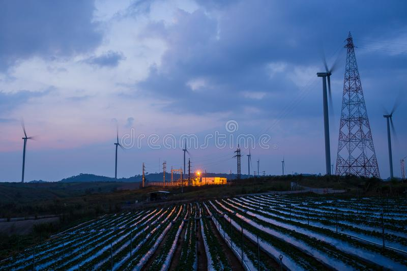 High voltage substation and windmill with strawberry field blue sky at sunset. stock photography