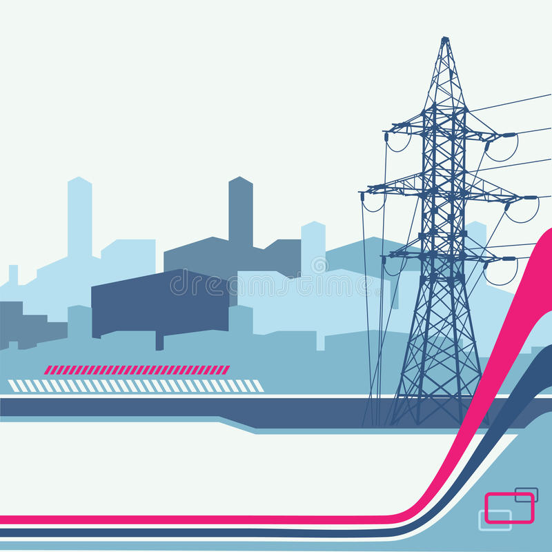 High-voltage tower background. royalty free illustration