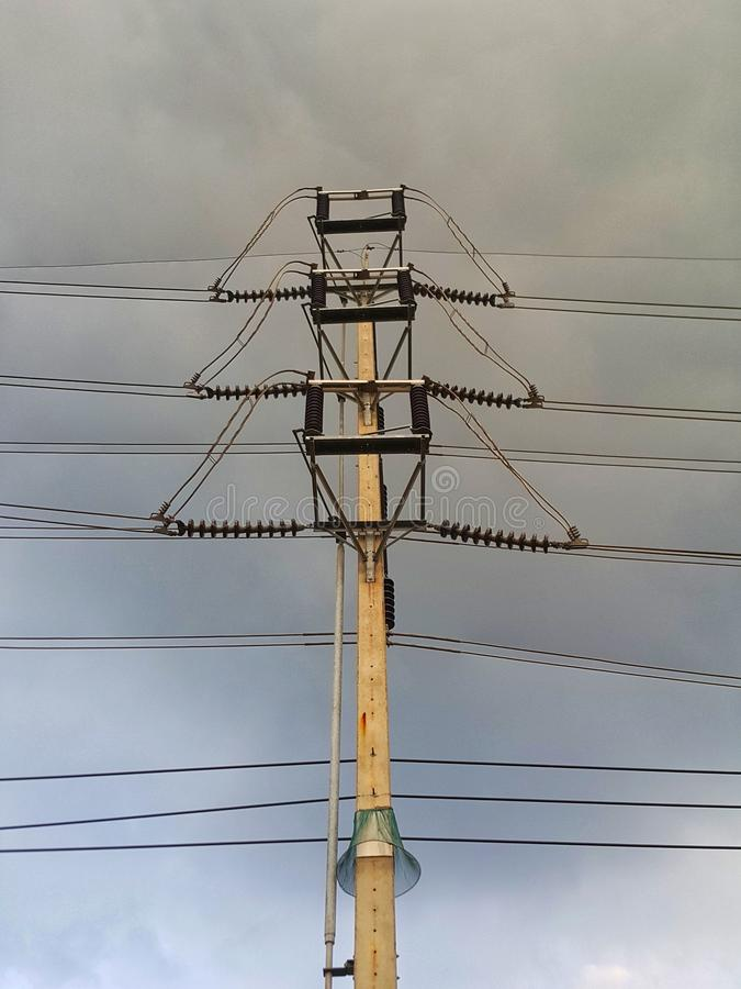 High voltage tower and power cable royalty free stock image