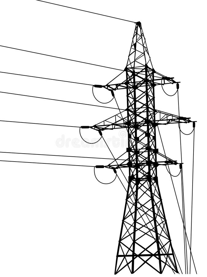 Free High-voltage Tower Silhouette. Royalty Free Stock Photos - 19931358
