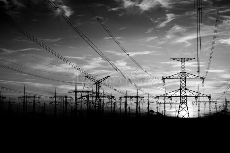 High voltage towers stock photography