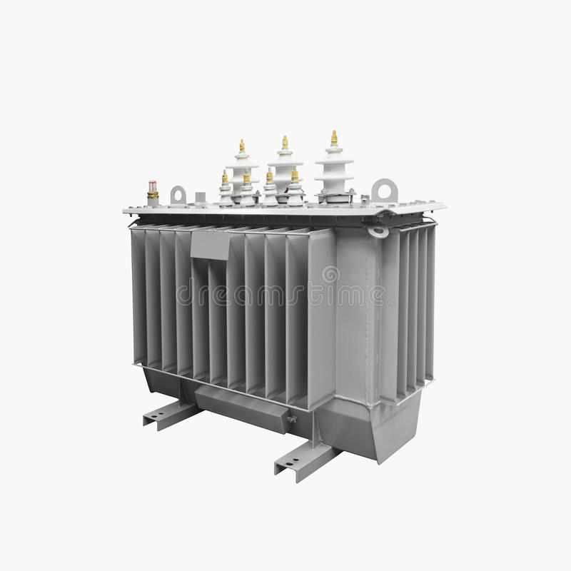High voltage transformer on a white background.  stock photography