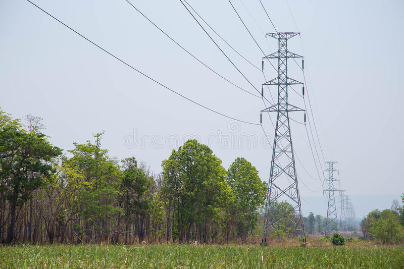 High voltage transmission line stock photography