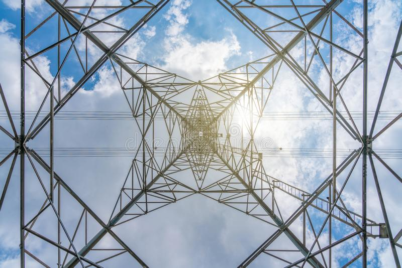 A high voltage transmission line tower, electricity network system.  royalty free stock images