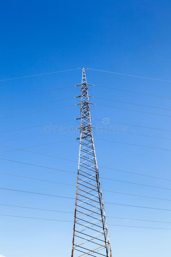 High voltage transmission tower. Power tower, electricity pylon stock photography
