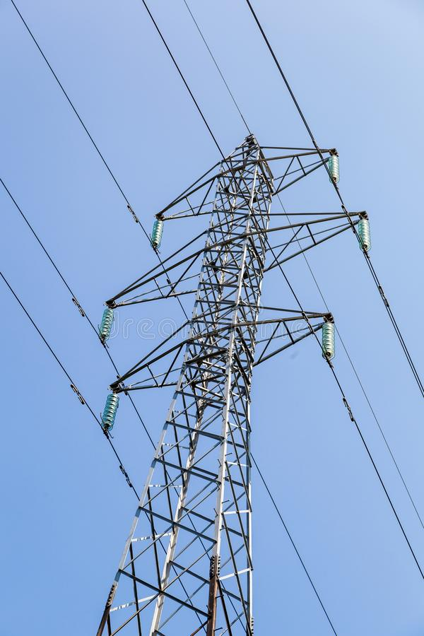 High voltage transmission tower. Power tower, electricity pylon stock photo