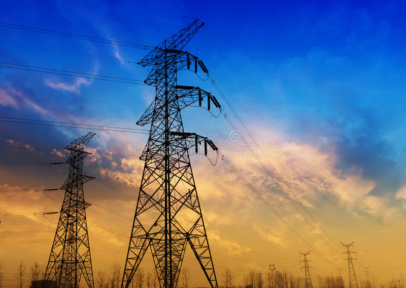 The high voltage transmission tower royalty free stock image