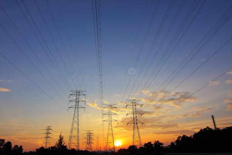 High Voltage Transmission Towers royalty free stock images