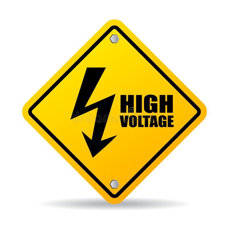 High voltage warning sign. On white background stock illustration