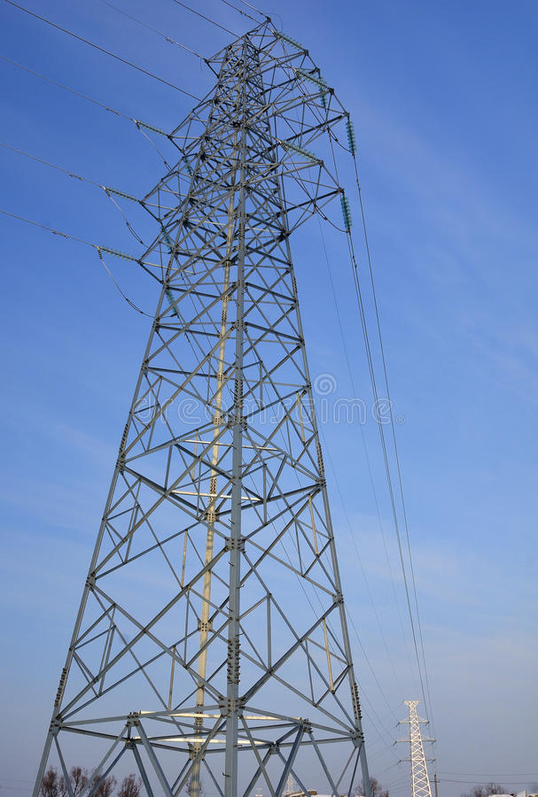 High voltage wire iron tower stock photography