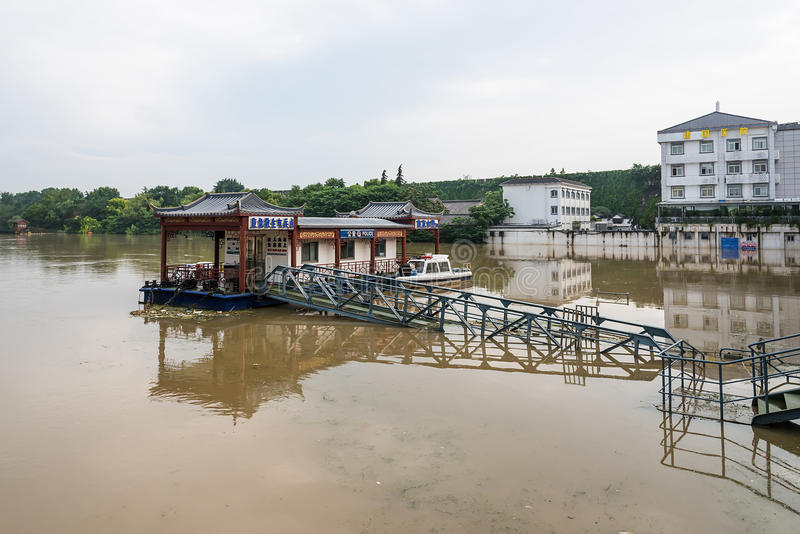 High water level of external qinhuai river stock image