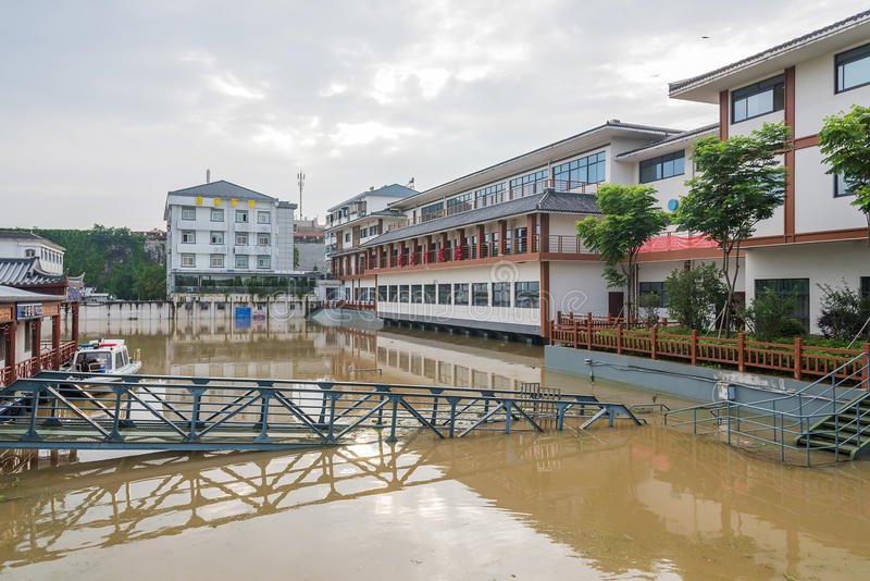 High water level of external qinhuai river royalty free stock images