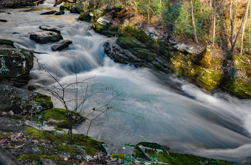 High Water Stream in the Mountains of Virginia, USA stock images
