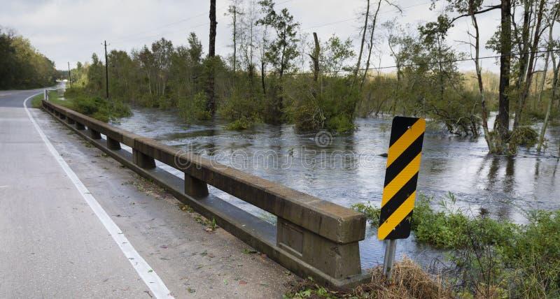 High water under a bridge after Hurricane Florence. High water under a bridge near Fayetteville North Carolina after Hurricane Florence royalty free stock photo