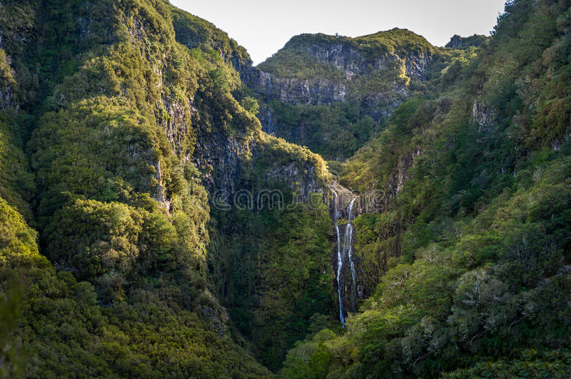 High waterfall in the hiking route levada 25 fountains, Madeira. royalty free stock photo