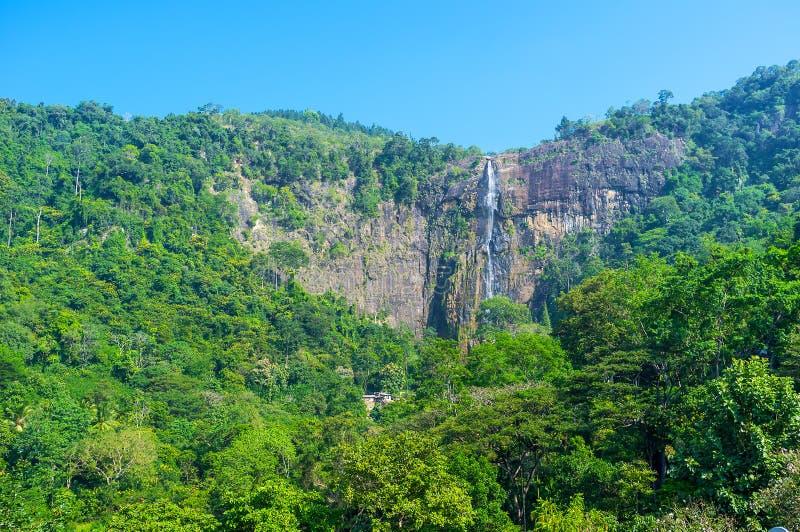 The high waterfall of Sri Lanka. Beautiful Diyaluma Falls is one of the most highest waterfalls in Sri Lanka, Located next to Koslanda town royalty free stock photo