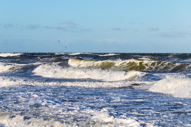High waves from the `Zeetje Storm`. High waves caused by the storm `Zeetje` at the Baltic Sea stock photos