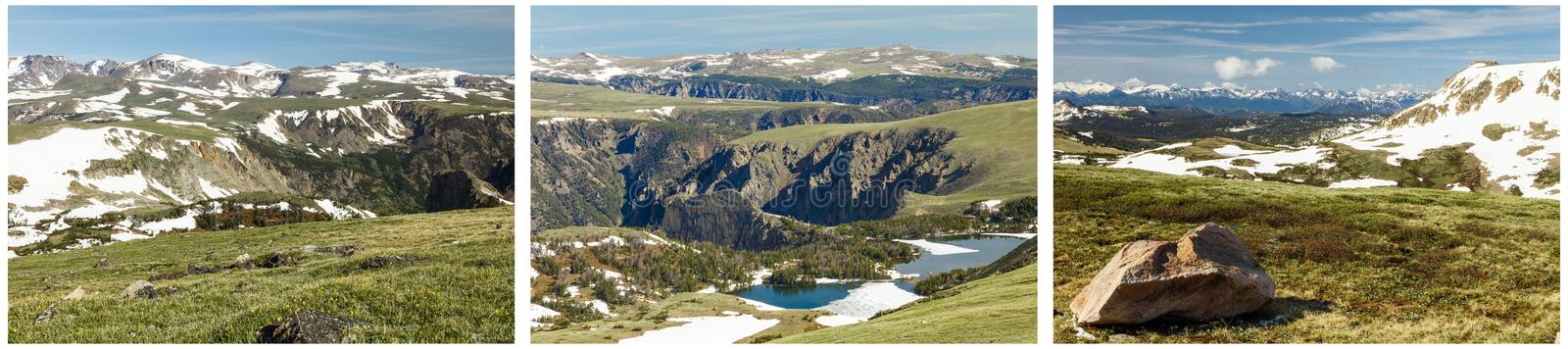 Alpine tundra beartooths lake collage stock images