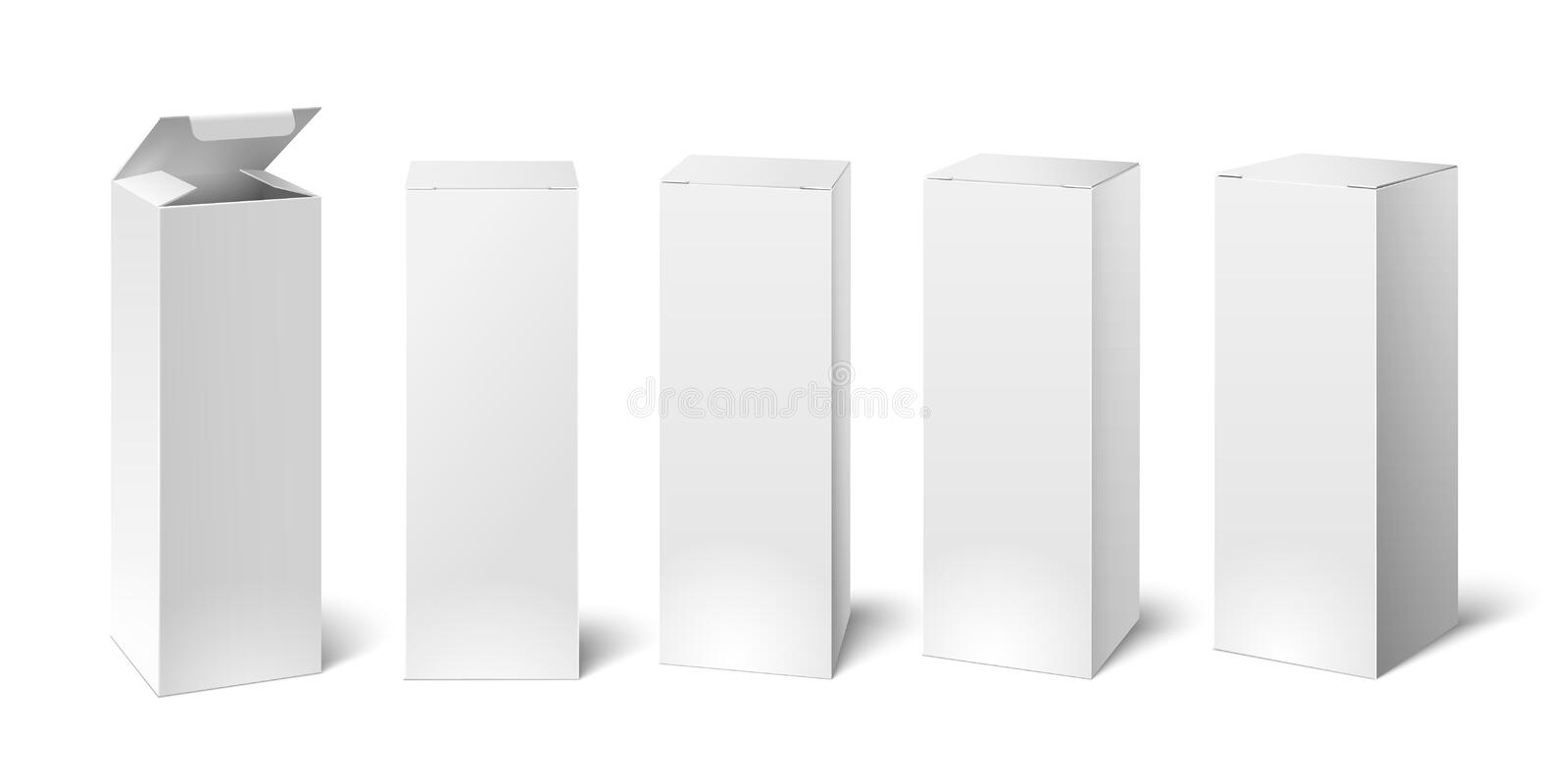 High white cardboard box mockup. Set of cosmetic or medical packaging, paper boxes. Vector illustration stock illustration